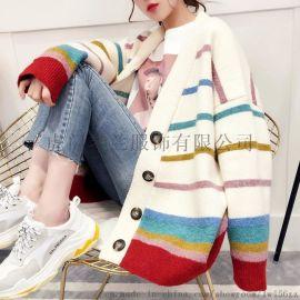 品牌尾货女装外贸原单女装宽松大码针织衫羊毛开衫毛衣地摊女装货源