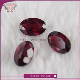 梧州天然红石榴石蛋形3*4mm裸石A货各规格可定制玫瑰石榴石半宝石