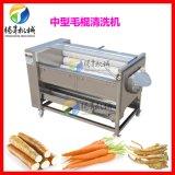 波浪毛刷式红薯加工设备  红薯清洗去皮机