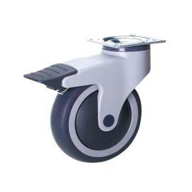 双菱脚轮全塑一档刹静音万向轮