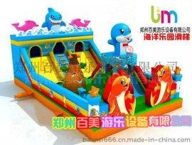 新款儿童充气滑梯乐园,鲨鱼充气蹦床带给小孩子无限快乐