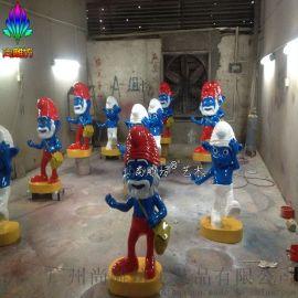 蓝精灵蓝爷爷造型玻璃钢卡通人物雕塑摆件工艺品 广州玻璃钢雕塑厂尚雕坊现货质保供应景观雕塑