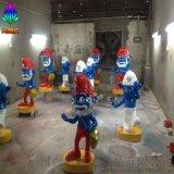 藍精靈藍爺爺造型玻璃鋼卡通人物雕塑擺件工藝品 廣州玻璃鋼雕塑廠尚雕坊現貨質保供應景觀雕塑