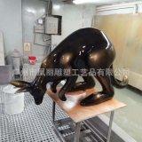 玻璃鋼雕塑袋鼠雕塑 古銅色動物雕塑定製廠家 動物袋鼠雕塑