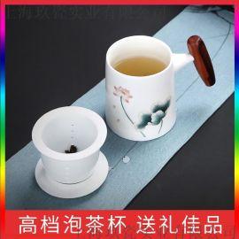 上海礼品杯手绘商务套装过滤,宝山陶瓷过滤茶叶瓷杯