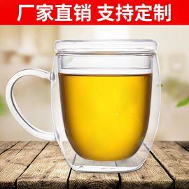 厂家直销高硼硅耐高温双层玻璃杯双层咖啡杯热水杯茶杯