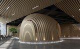 西安主题餐厅仿木纹弧形铝方通-波浪型铝板方通