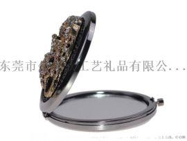 圓形金屬化妝鏡 創意豹子頭化妝鏡 折疊隨身鏡