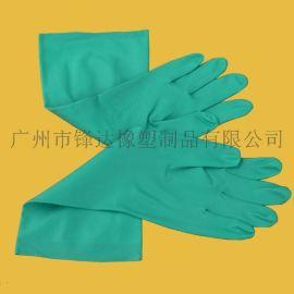 18mil绿色丁腈绒里手套, 耐酸碱手套, 防护家用工业丁晴橡胶手套