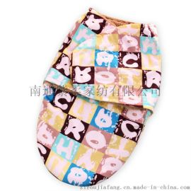 紫柔新生儿家居用品 短毛绒婴儿睡袋秋冬款 双层保暖襁褓加厚