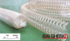 PU钢丝伸缩管百盛塑胶厂家直销镀铜钢丝耐磨管