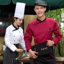 新款秋冬酒店工作制服男女西餐厅厨师长配菜师服装酒店厨师服长袖