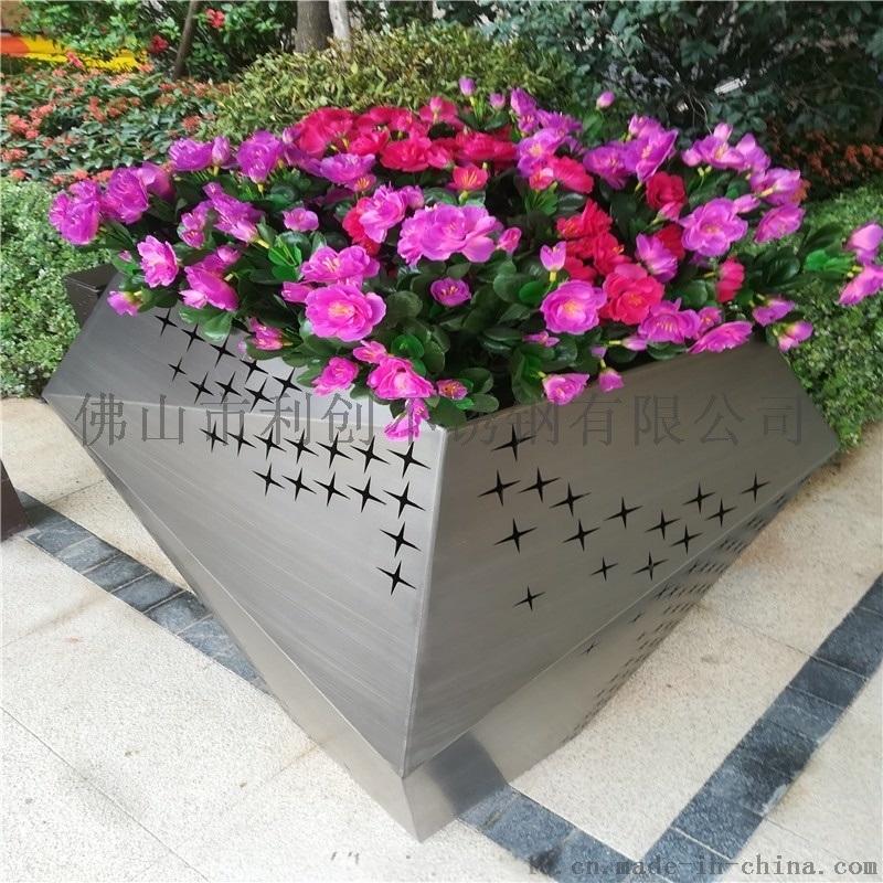 供应园林绿化组合花盆花箱不锈钢钛金圆桶花盆