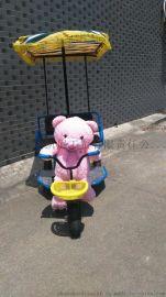 机器人拉车 广场户外亲子车毛绒娃娃电动三轮车 儿童电瓶车灯光