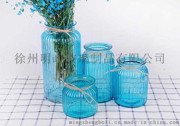欧式地中海玻璃花瓶彩色透明简约田园风创意水培花瓶摆件客厅插花