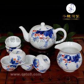 青花瓷手绘茶具定做价格 纯手工制作青花瓷手绘茶具