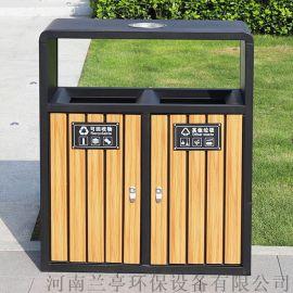 山西园林设施分类钢木垃圾桶生产厂家|户外环保果皮箱