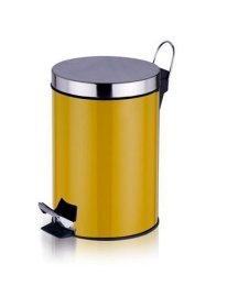 不锈钢脚踏垃圾桶3L(黄色)