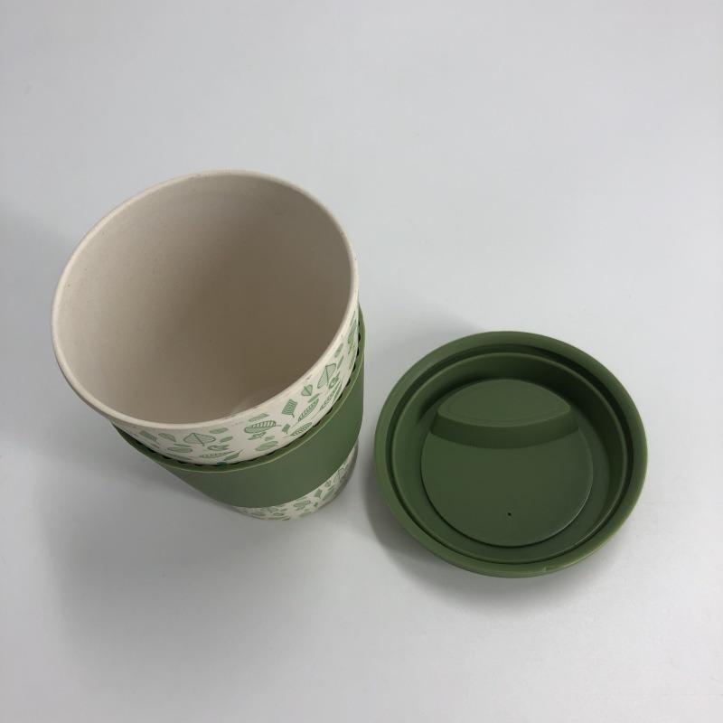 硅胶防烫竹纤维咖啡杯