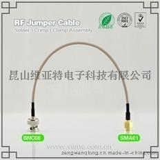 BNC08-SMA01BNC(Plug)  公针 to SMA(Plug)  公针直式铆压接RG316_RG174同轴电缆/50Ω