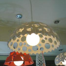玛斯欧树脂吊灯MS-P1015镂空圆孔半球灯罩40w球泡暖光温馨卧室酒柜装饰灯具花边吊灯