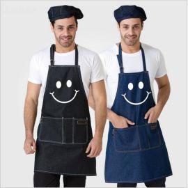 牛仔围裙厨房男女咖啡厅餐厅韩版精品时尚工作围腰定制logo印字