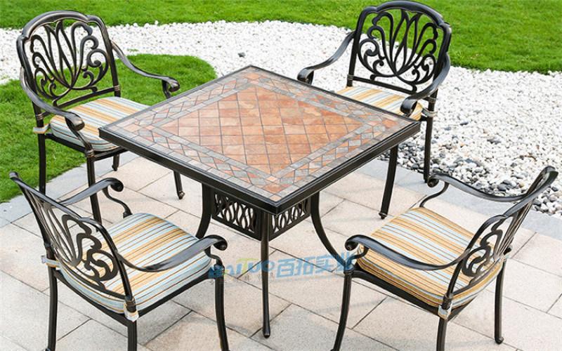 户外桌椅庭院花园铝合金桌椅铸铝露天室外桌椅