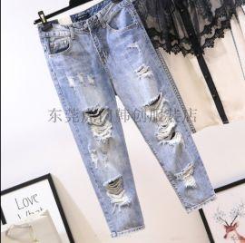 韩版女士牛仔裤库存女装长裤特价尾货杂款小脚裤清
