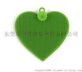 食品级心形洗碗刷 带吸盘硅胶洗碗刷 环保瓜果清洗刷