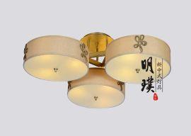 明璞新中式布藝吸頂燈  走廊大廳臥室現代中式鐵藝吸頂燈