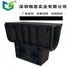 HDPE排水沟厂家 定制塑料排水沟 环保材料  不锈钢缝隙盖板