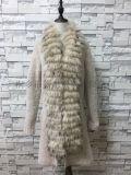 针织貉子毛长大衣