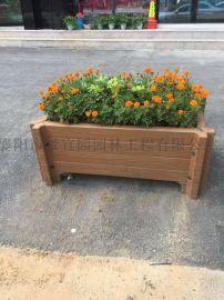 湖北襄阳市景区艺术市政园林水泥仿木纹花箱花盆