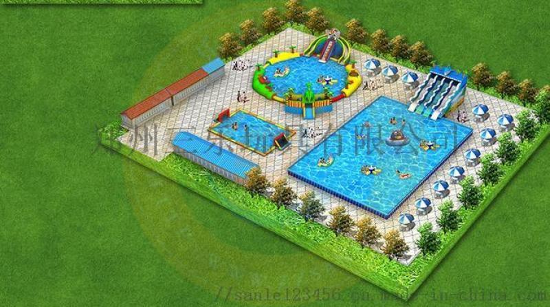 浙江義烏支架游泳池充氣水上樂園很豐富