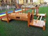 南宁幼儿园木质攀爬架 体能训练组合 秋千荡桥组合
