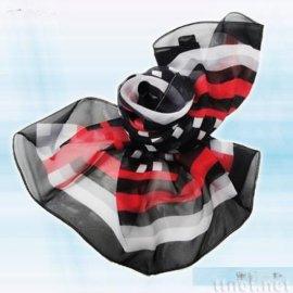 黑紅白格絲巾(S-007)