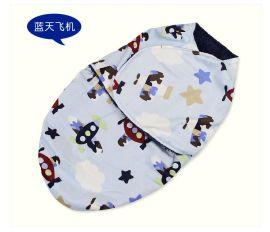 清柔双层印花睡袋 襁褓防踢袋 新生儿包裹布