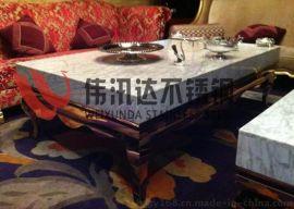 KTV玫瑰金不锈钢茶几桌子,大理石不锈钢茶几桌子