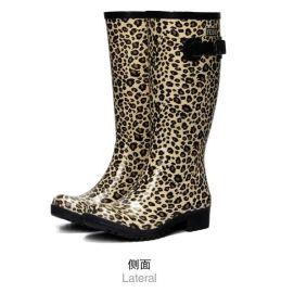 飞鹤新款时尚豹纹雨鞋_女高筒雨靴_韩版天然橡胶雨鞋_防滑耐磨鞋