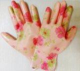 13針印花滌綸掌浸透明丁腈光面手套
