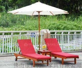 百树恒 户外实木躺床二折躺椅沙滩椅泳池折叠躺床户外休闲椅现货