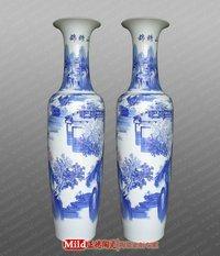 宾馆酒店装饰品中国红1.8米陶瓷大花瓶