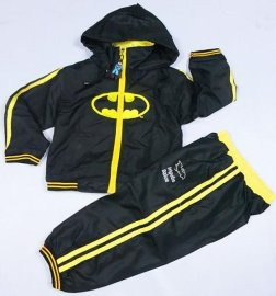 一手起批发童装儿童运动风衣套装连帽子/蝙蝠侠造型风衣套装/运动服