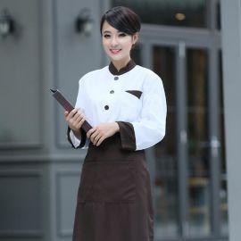 定制厨师服长袖加厚秋冬装男女斜领特色新款厨师服刺绣企业logo