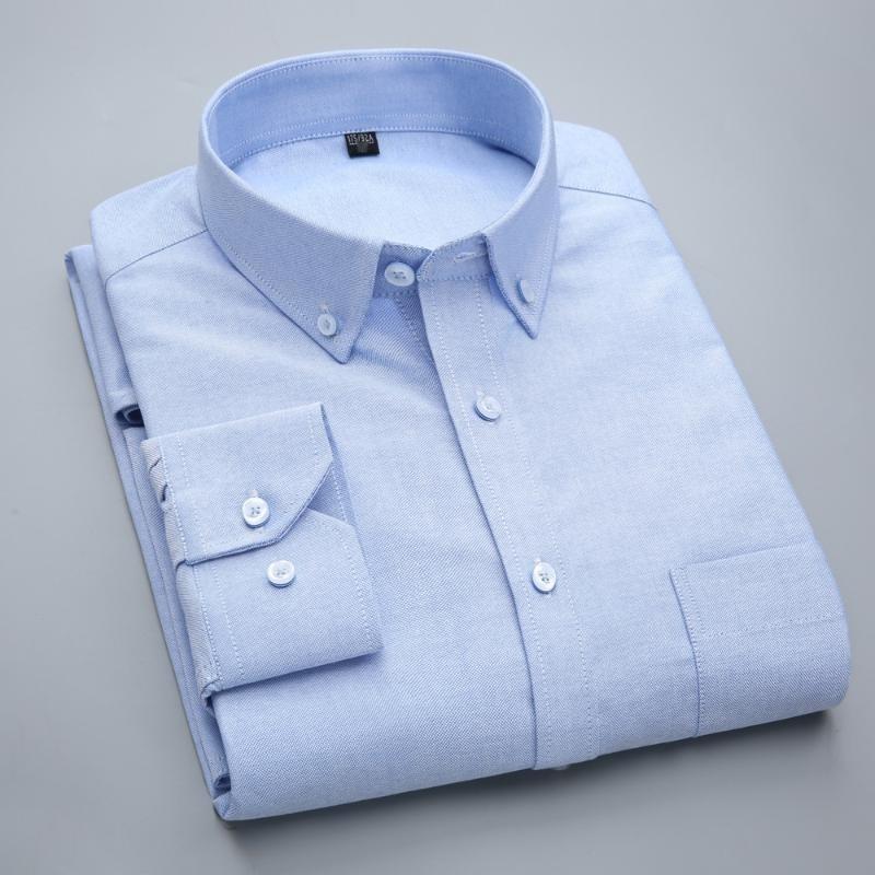 男士长袖衬衫牛津纺秋冬装全棉免烫休闲衬衣现货