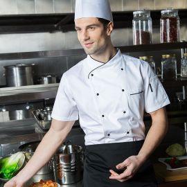 短袖酒店厨房厨师工作服厨师长服装西点烘焙西餐厨师服