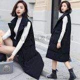 女式时尚中长款棉衣马夹棉衣2017冬装新款韩版西装领直筒