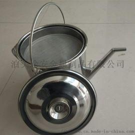 圆柱形长嘴不锈钢三级过滤加油壶 40-120目油桶