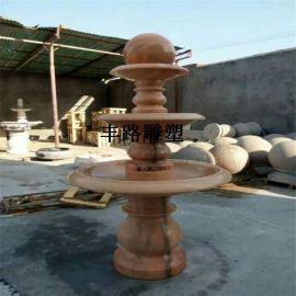 现货石雕喷泉 欧式风水球双层流水盆