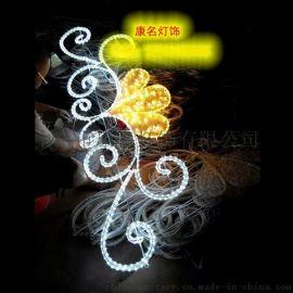 康名灯饰供应led圣诞树路灯杆造型灯 led太阳花旗杆灯 专业路灯杆装饰灯厂
